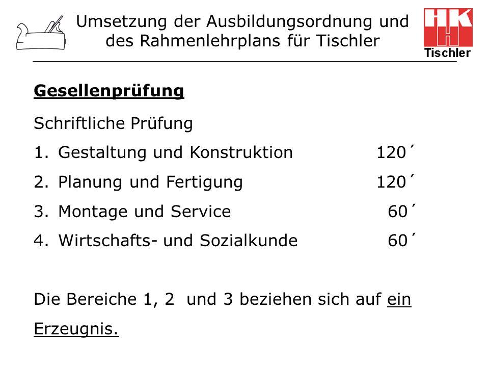 Umsetzung der Ausbildungsordnung und des Rahmenlehrplans für Tischler Gesellenprüfung Schriftliche Prüfung 1.Gestaltung und Konstruktion 120´ 2.Planun