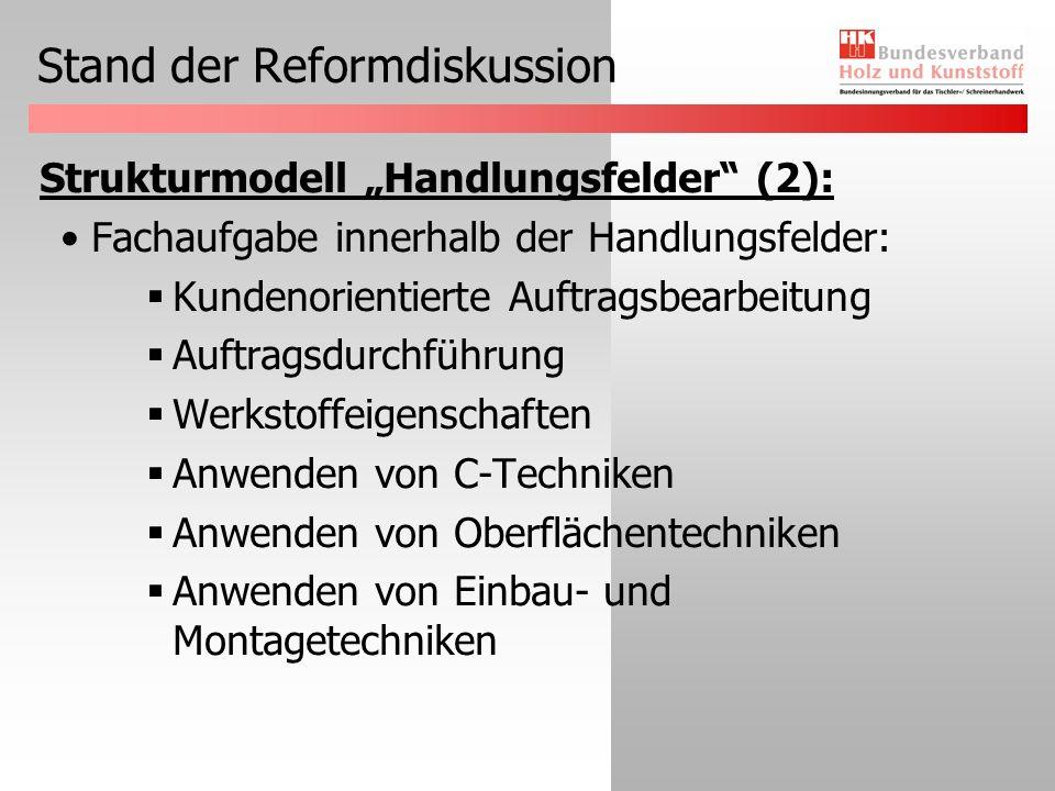 Stand der Reformdiskussion Strukturmodell Handlungsfelder (2): Fachaufgabe innerhalb der Handlungsfelder: Kundenorientierte Auftragsbearbeitung Auftragsdurchführung Werkstoffeigenschaften Anwenden von C-Techniken Anwenden von Oberflächentechniken Anwenden von Einbau- und Montagetechniken