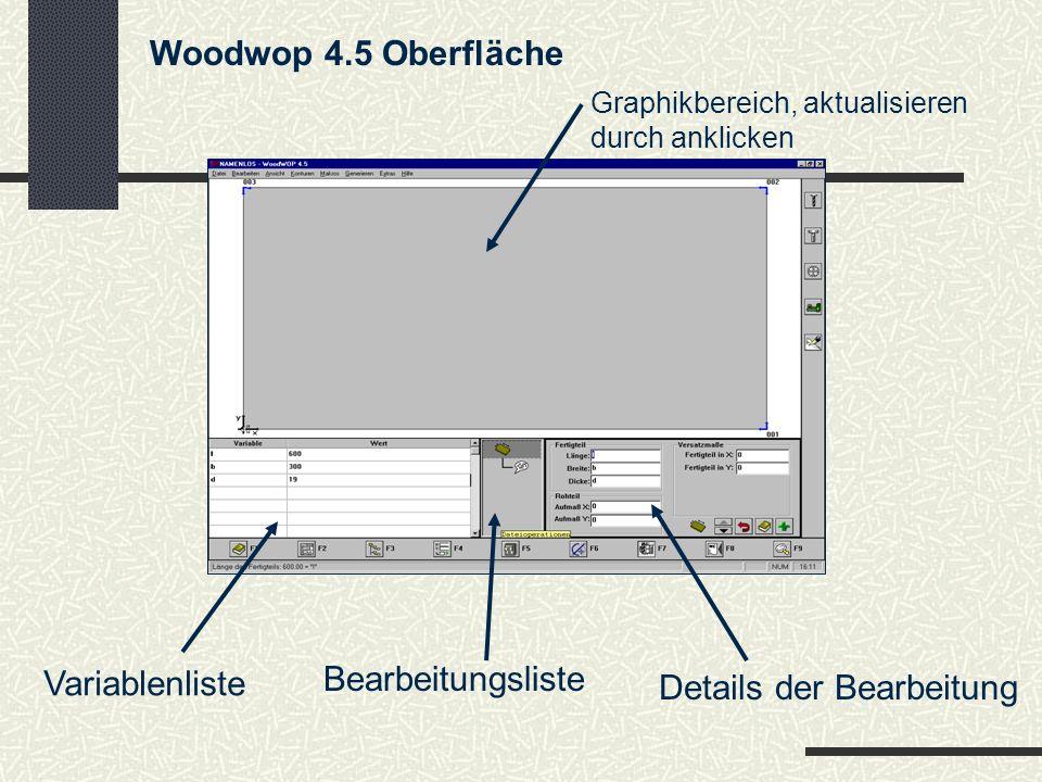Bei der Auswahl des Fräswerkzeuges muß folgendes beachtet werden: Die Werkzeugauswahl zeigt an welche Werkzeugdaten gespeichert sind, doch die aktuelle Werkzeugbestückung ist über WERKZEUG abzufragen.