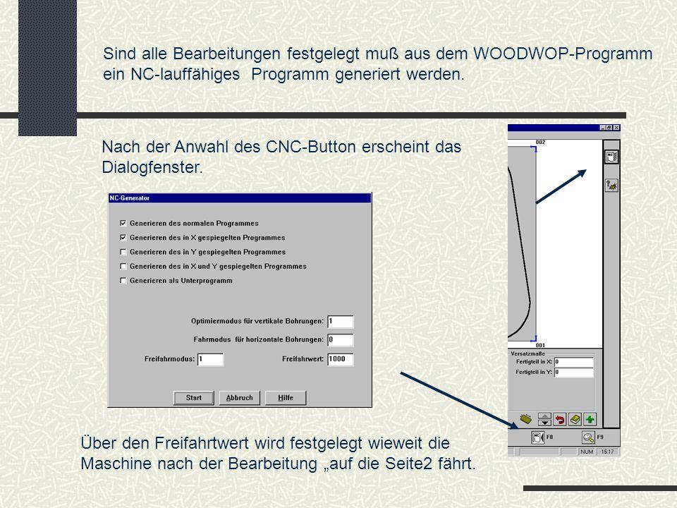 Sind alle Bearbeitungen festgelegt muß aus dem WOODWOP-Programm ein NC-lauffähiges Programm generiert werden. Nach der Anwahl des CNC-Button erscheint