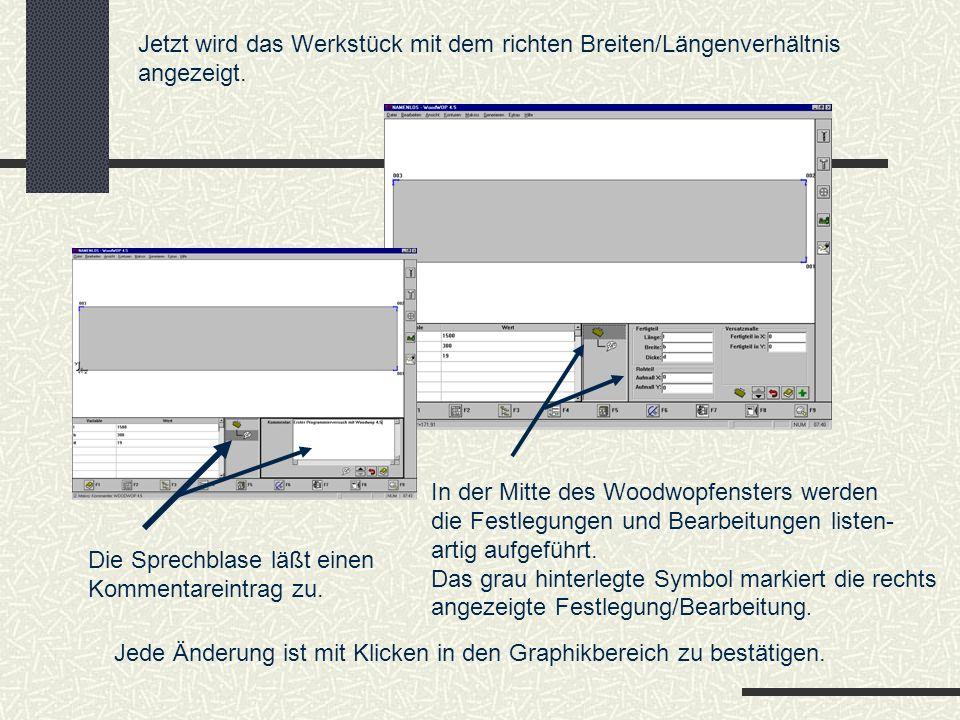 Beispiel Bogenfunktion: Bogen wählen, Merkmale festlegen.