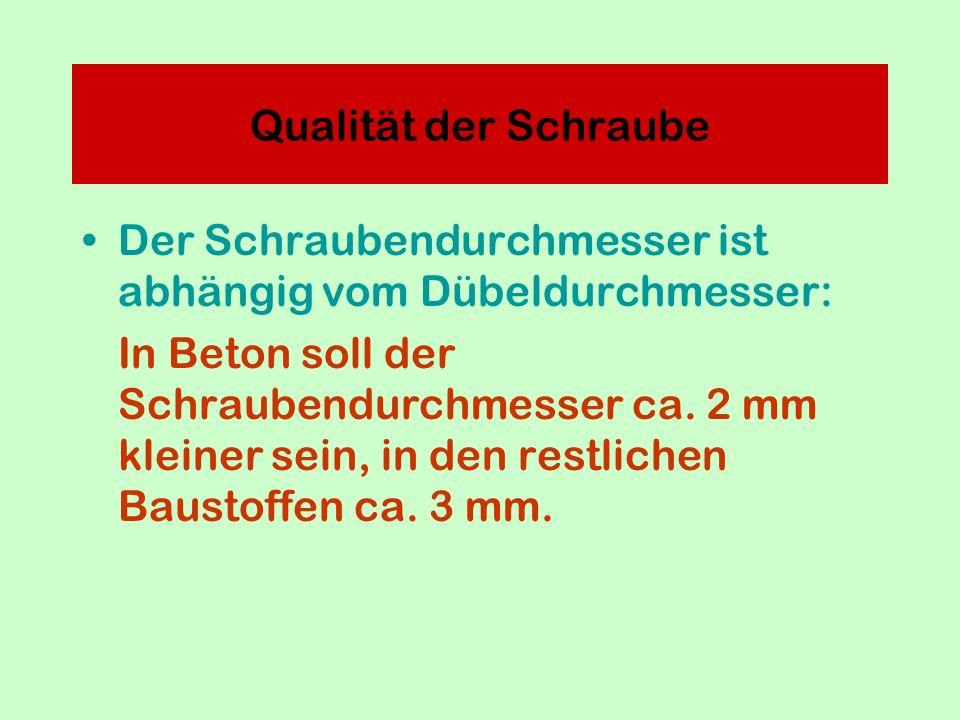 Der Schraubendurchmesser ist abhängig vom Dübeldurchmesser: In Beton soll der Schraubendurchmesser ca.