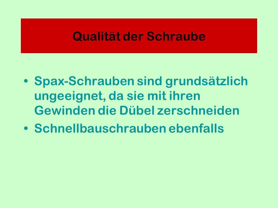 Spax-Schrauben sind grundsätzlich ungeeignet, da sie mit ihren Gewinden die Dübel zerschneiden Schnellbauschrauben ebenfalls Qualität der Schraube