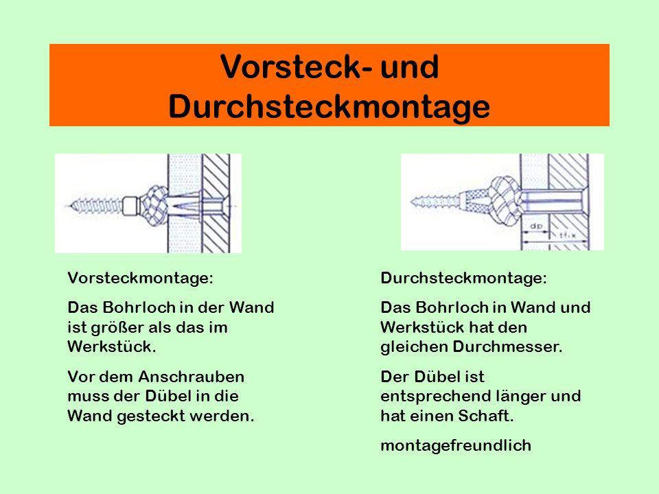 Vorsteck- und Durchsteckmontage Vorsteckmontage: Das Bohrloch in der Wand ist größer als das im Werkstück.