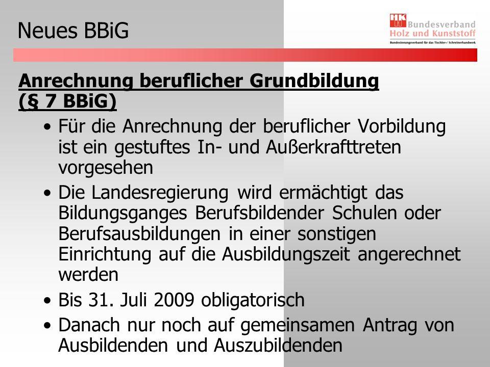 Neues BBiG Teilzeitausbildung (§ 8 Abs.