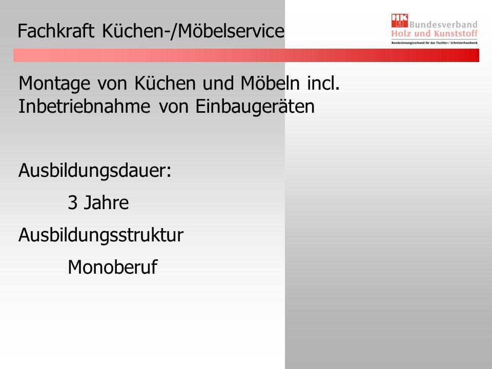 Fachkraft Küchen-/Möbelservice Montage von Küchen und Möbeln incl. Inbetriebnahme von Einbaugeräten Ausbildungsdauer: 3 Jahre Ausbildungsstruktur Mono