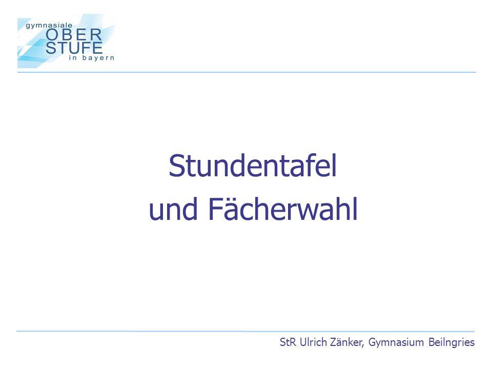 StR Ulrich Zänker, Gymnasium Beilngries Stundentafel und Fächerwahl