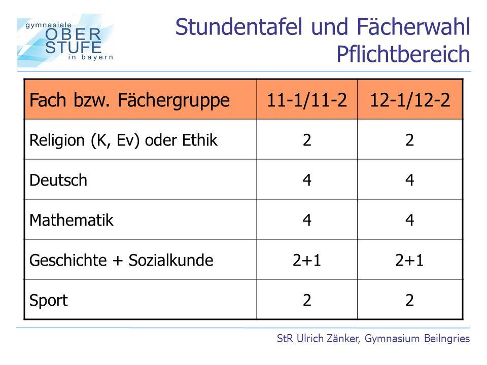 Stundentafel und Fächerwahl Pflichtbereich StR Ulrich Zänker, Gymnasium Beilngries Fach bzw. Fächergruppe11-1/11-212-1/12-2 Religion (K, Ev) oder Ethi