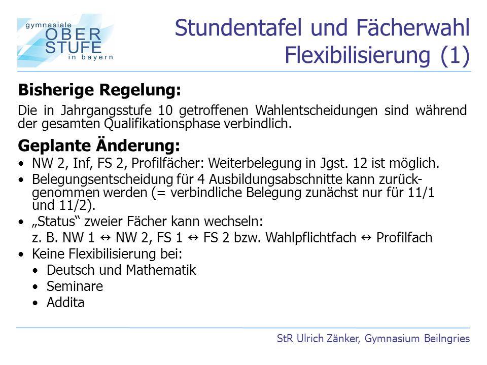 Stundentafel und Fächerwahl Flexibilisierung (1) StR Ulrich Zänker, Gymnasium Beilngries Bisherige Regelung: Die in Jahrgangsstufe 10 getroffenen Wahl