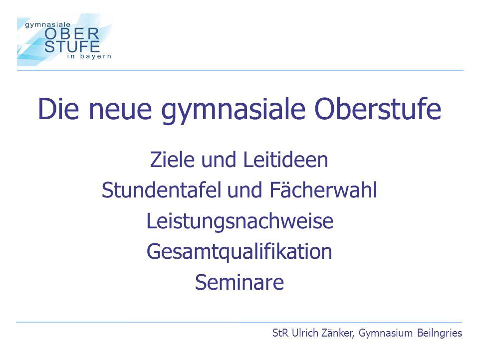 Stundentafel und Fächerwahl Wahlpflichtbereich StR Ulrich Zänker, Gymnasium Beilngries Fach bzw.