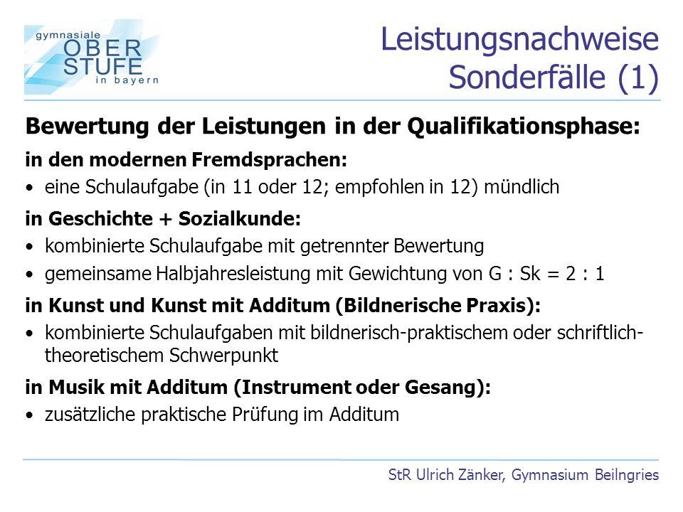 Leistungsnachweise Sonderfälle (1) StR Ulrich Zänker, Gymnasium Beilngries Bewertung der Leistungen in der Qualifikationsphase: in den modernen Fremds