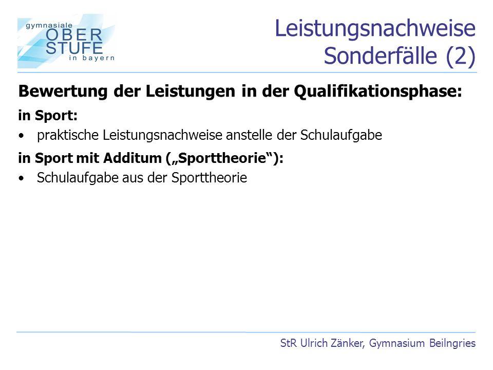 Leistungsnachweise Sonderfälle (2) StR Ulrich Zänker, Gymnasium Beilngries Bewertung der Leistungen in der Qualifikationsphase: in Sport: praktische L
