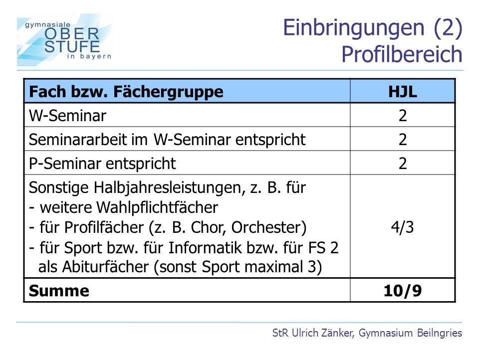 Einbringungen (2) Profilbereich StR Ulrich Zänker, Gymnasium Beilngries Fach bzw. FächergruppeHJL W-Seminar2 Seminararbeit im W-Seminar entspricht2 P-