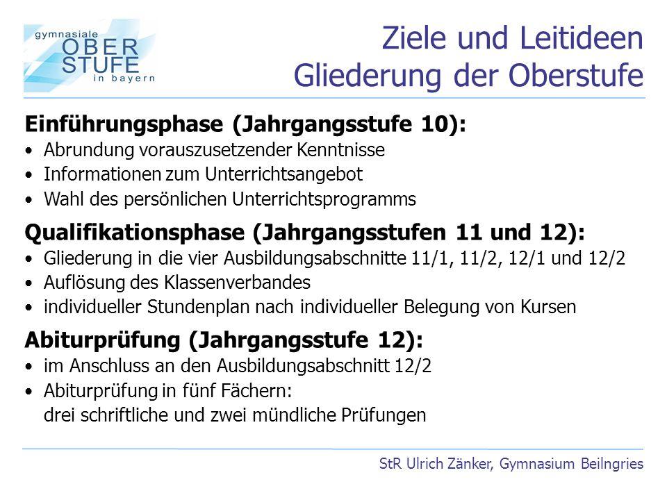 Ziele und Leitideen Gliederung der Oberstufe StR Ulrich Zänker, Gymnasium Beilngries Einführungsphase (Jahrgangsstufe 10): Abrundung vorauszusetzender