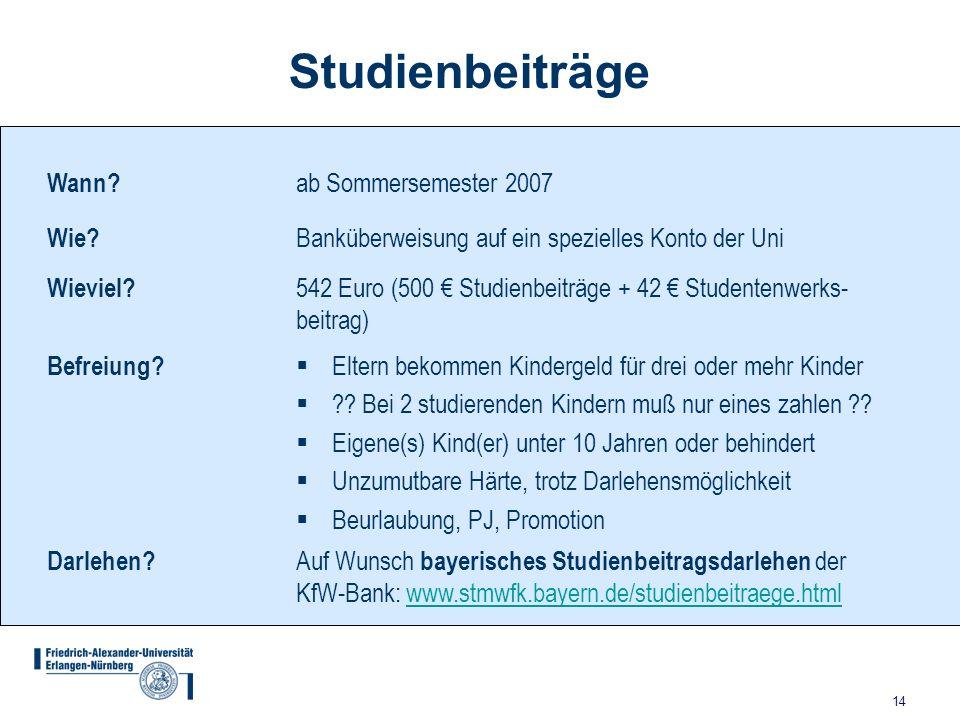 14 Studienbeiträge Wann.ab Sommersemester 2007 Wie.