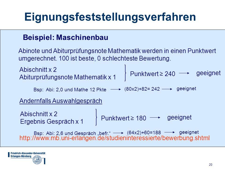 20 Eignungsfeststellungsverfahren Beispiel: Maschinenbau Abinote und Abiturprüfungsnote Mathematik werden in einen Punktwert umgerechnet.