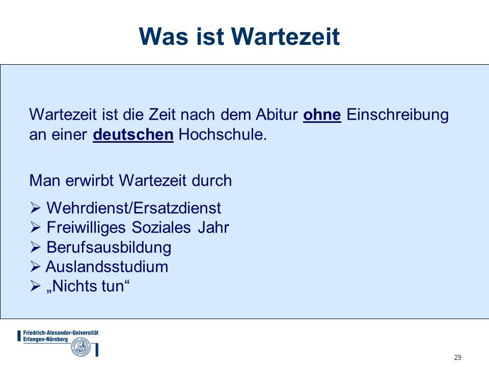 29 Wartezeit ist die Zeit nach dem Abitur ohne Einschreibung an einer deutschen Hochschule.