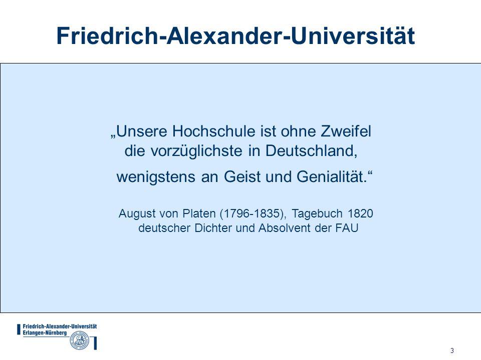 3 Unsere Hochschule ist ohne Zweifel die vorzüglichste in Deutschland, Friedrich-Alexander-Universität wenigstens an Geist und Genialität.