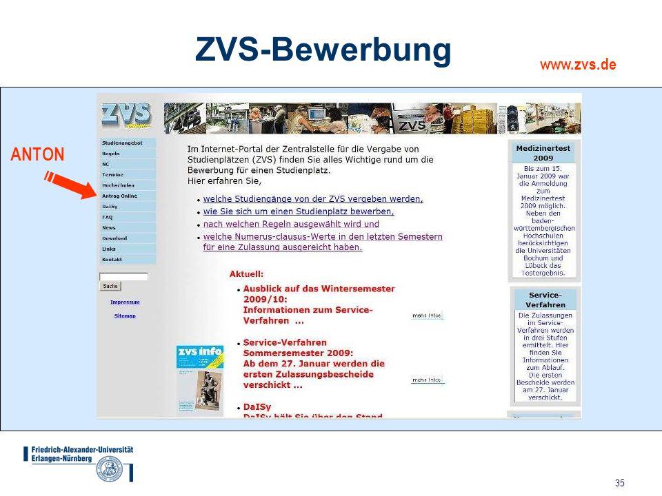 35 ZVS-Bewerbung www.zvs.de ANTON