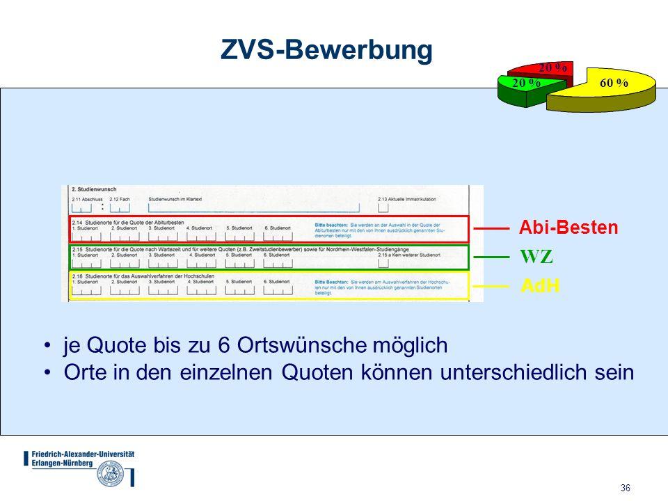 36 ZVS-Bewerbung 60 % 20 % Abi-Besten WZ AdH je Quote bis zu 6 Ortswünsche möglich Orte in den einzelnen Quoten können unterschiedlich sein