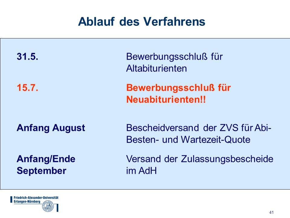 41 Ablauf des Verfahrens 31.5.Bewerbungsschluß für Altabiturienten 15.7.Bewerbungsschluß für Neuabiturienten!.