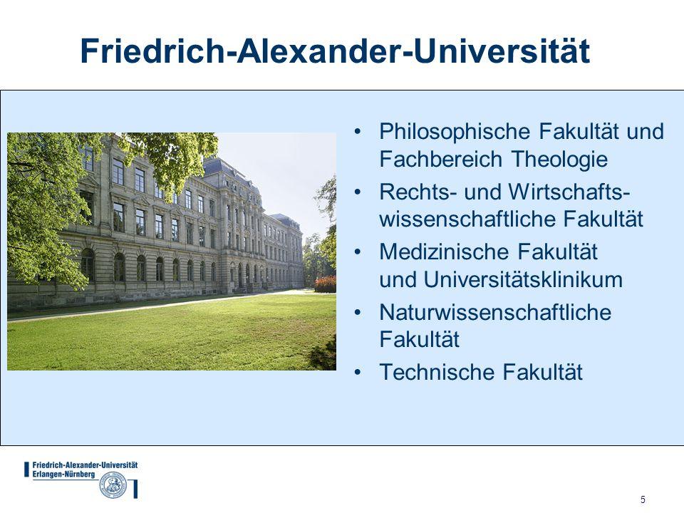 5 Friedrich-Alexander-Universität Philosophische Fakultät und Fachbereich Theologie Rechts- und Wirtschafts- wissenschaftliche Fakultät Medizinische Fakultät und Universitätsklinikum Naturwissenschaftliche Fakultät Technische Fakultät