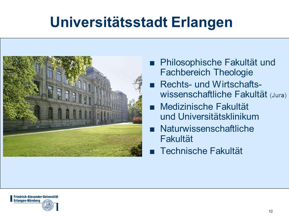 10 Universitätsstadt Erlangen Philosophische Fakultät und Fachbereich Theologie Rechts- und Wirtschafts- wissenschaftliche Fakultät (Jura) Medizinisch