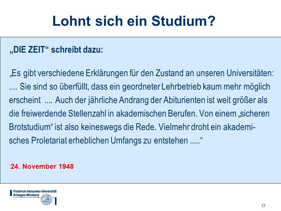 13 Lohnt sich ein Studium? DIE ZEIT schreibt dazu: Es gibt verschiedene Erklärungen für den Zustand an unseren Universitäten:.... Sie sind so überfüll