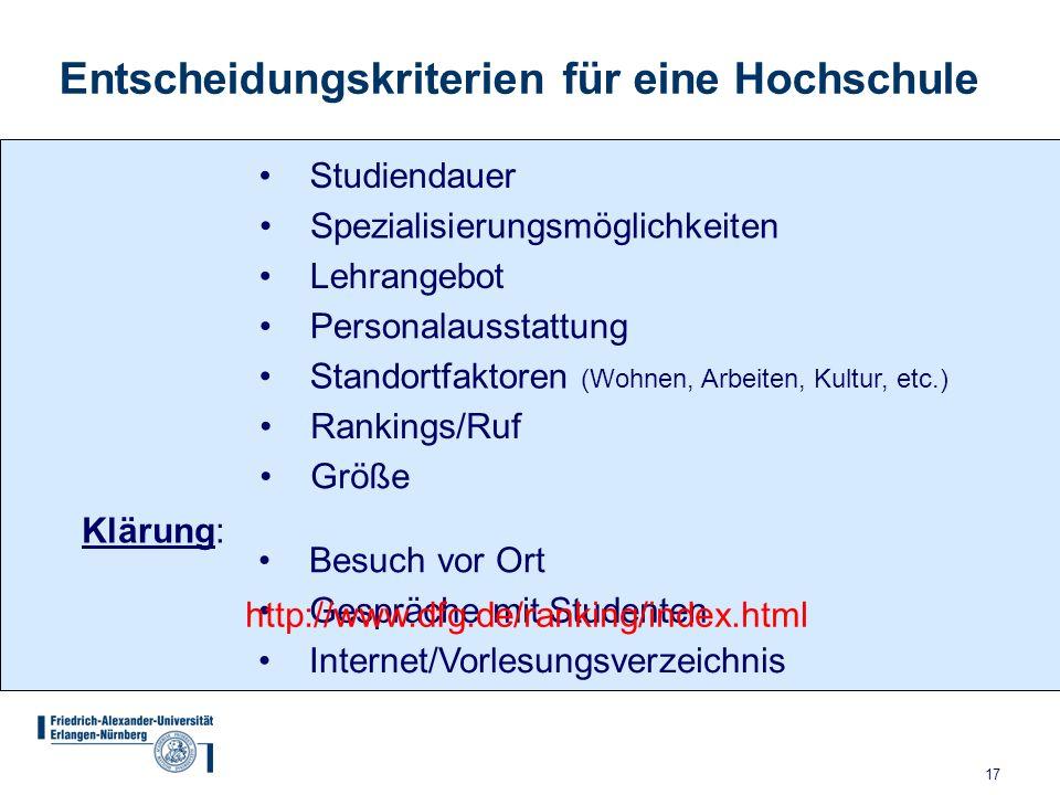 17 Studiendauer Spezialisierungsmöglichkeiten Lehrangebot Personalausstattung Standortfaktoren (Wohnen, Arbeiten, Kultur, etc.) Rankings/Ruf Klärung: