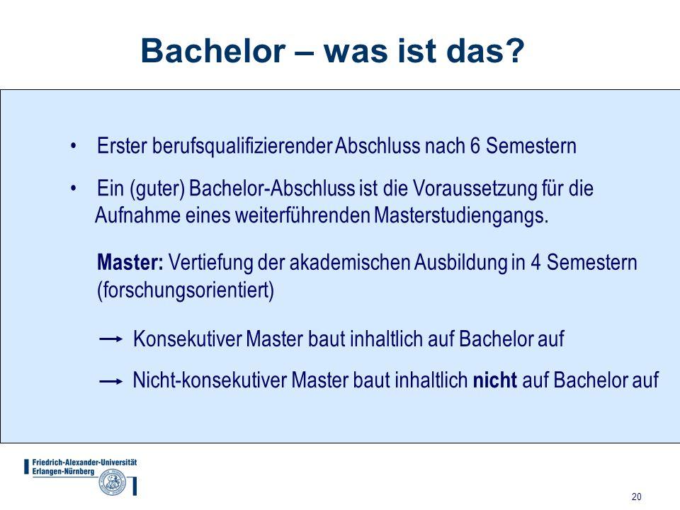 20 Bachelor – was ist das? Erster berufsqualifizierender Abschluss nach 6 Semestern Ein (guter) Bachelor-Abschluss ist die Voraussetzung für die Aufna