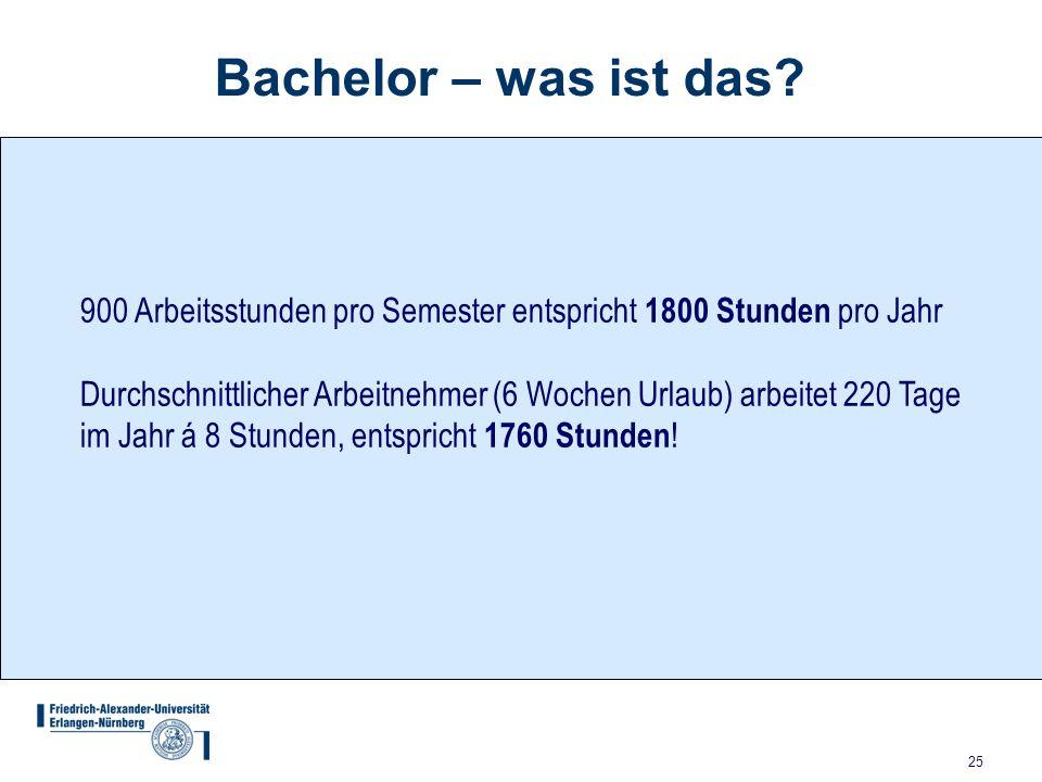 25 Bachelor – was ist das? 900 Arbeitsstunden pro Semester entspricht 1800 Stunden pro Jahr Durchschnittlicher Arbeitnehmer (6 Wochen Urlaub) arbeitet