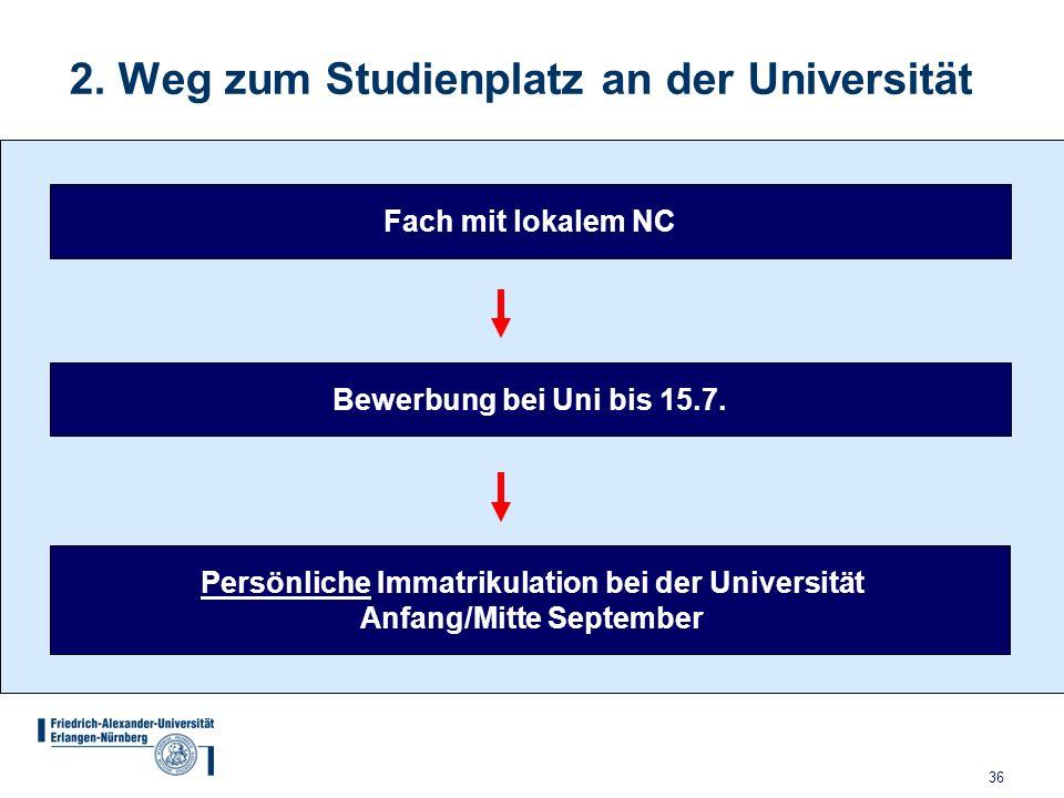 36 2. Weg zum Studienplatz an der Universität Bewerbung bei Uni bis 15.7. Persönliche Immatrikulation bei der Universität Anfang/Mitte September Fach