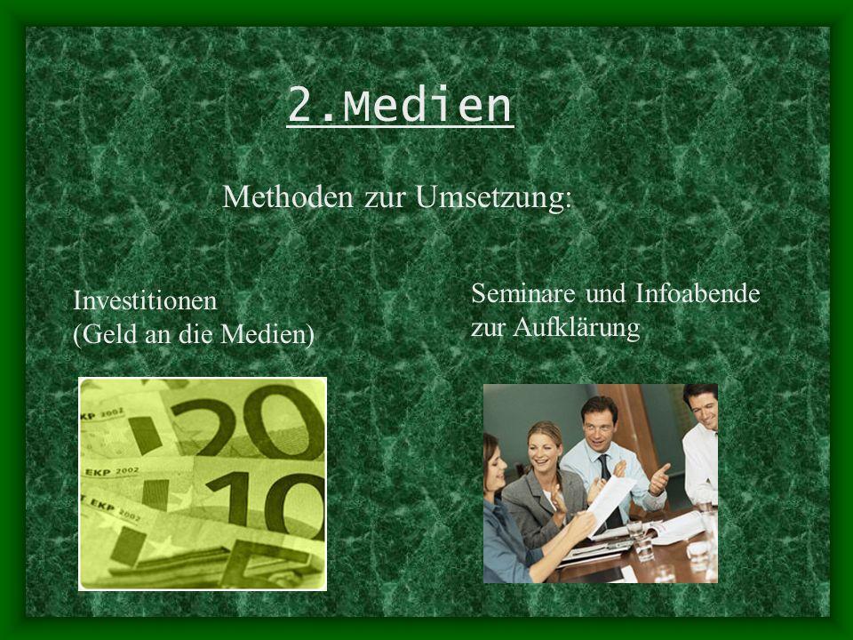 2.Medien Methoden zur Umsetzung: Investitionen (Geld an die Medien)