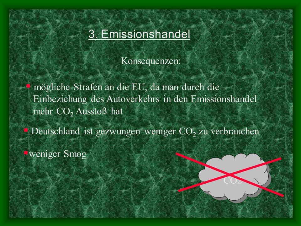3. Emissionshandel Konsequenzen: weniger Smog CO2 mögliche Strafen an die EU, da man durch die Einbeziehung des Autoverkehrs in den Emissionshandel me