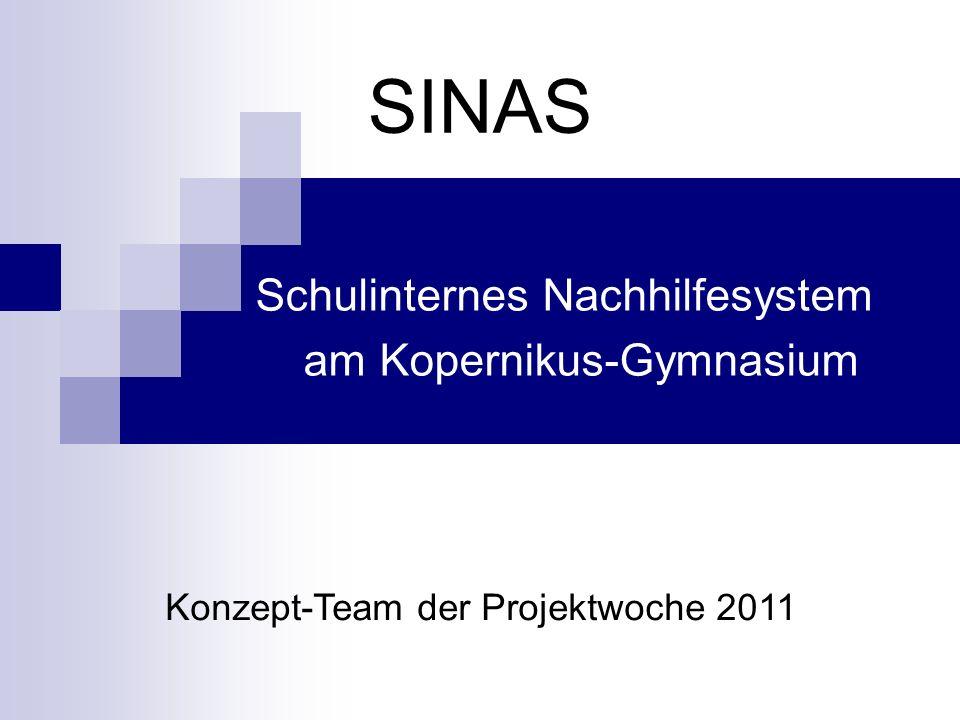 SINAS Schulinternes Nachhilfesystem am Kopernikus-Gymnasium Konzept-Team der Projektwoche 2011