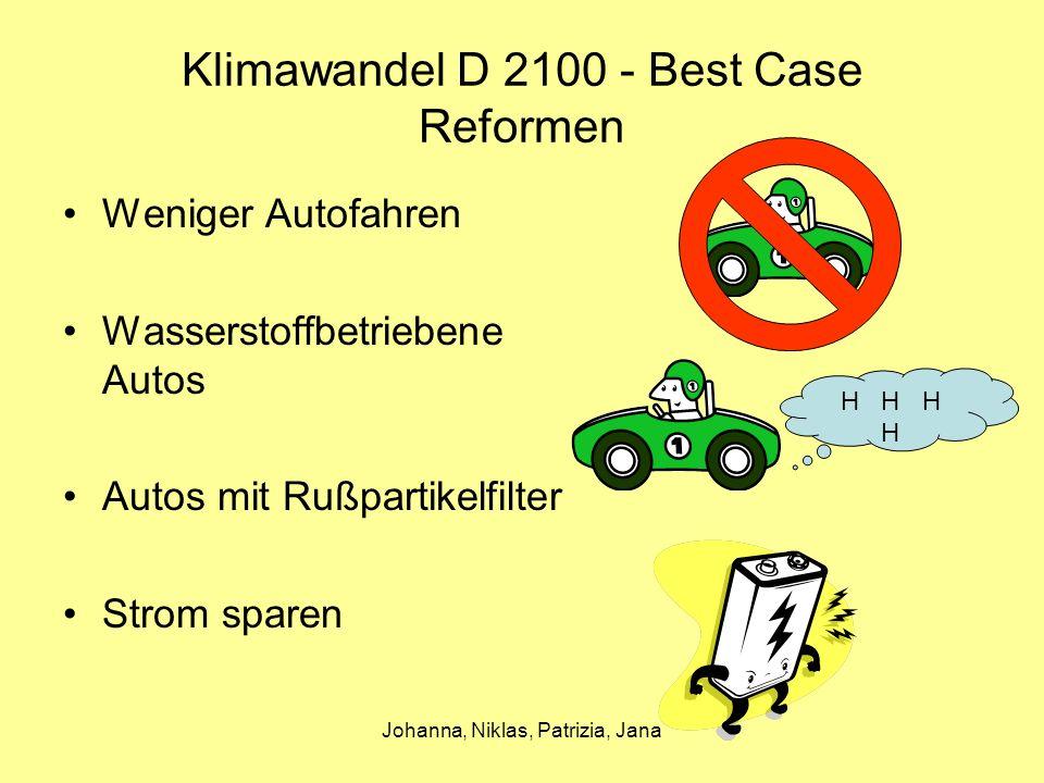 Johanna, Niklas, Patrizia, Jana Klimawandel D 2100 - Best Case Reformen Weniger Autofahren Wasserstoffbetriebene Autos Autos mit Rußpartikelfilter Strom sparen H H