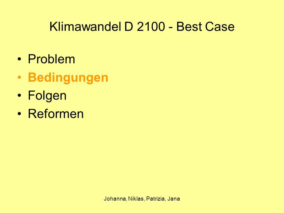 Johanna, Niklas, Patrizia, Jana Klimawandel D 2100 - Best Case Bedingungen Durch den hohen Ausstoß von CO2 und anderen Schadstoffen sowie den zu hohen Verbrauch von Erdöl und Kohle wird der Treibhauseffekt in Gang gesetzt.