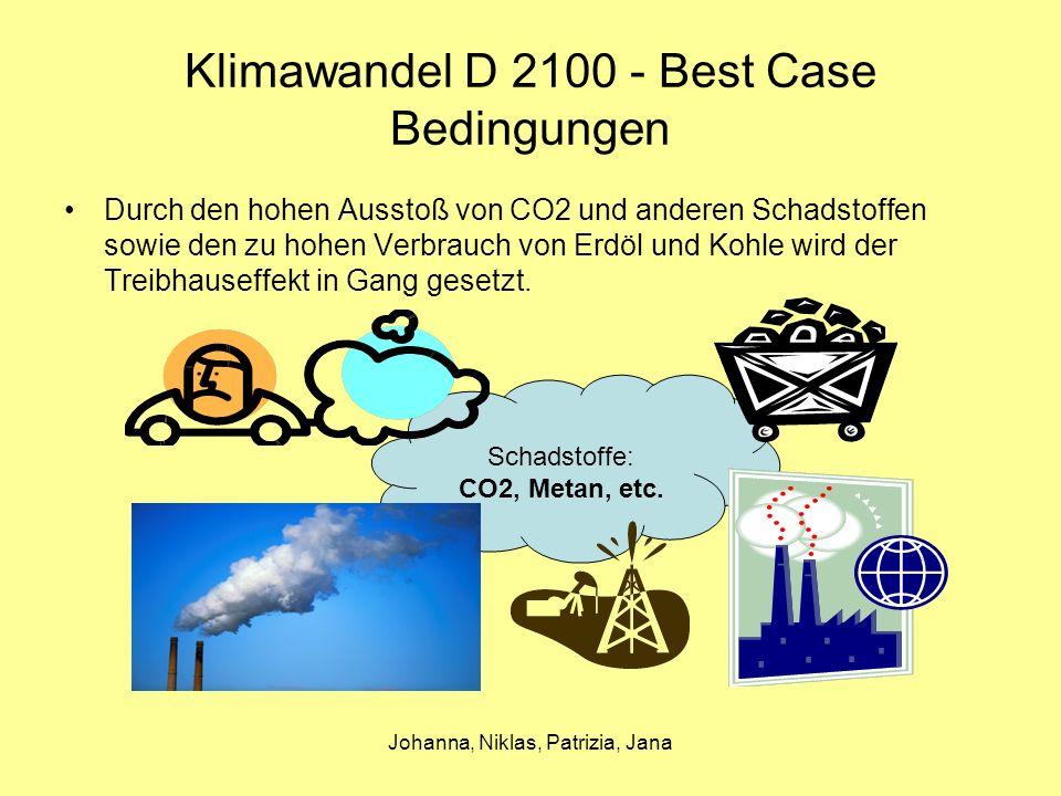 Johanna, Niklas, Patrizia, Jana Klimawandel D 2100 - Best Case Problem Bedingungen Folgen Reformen