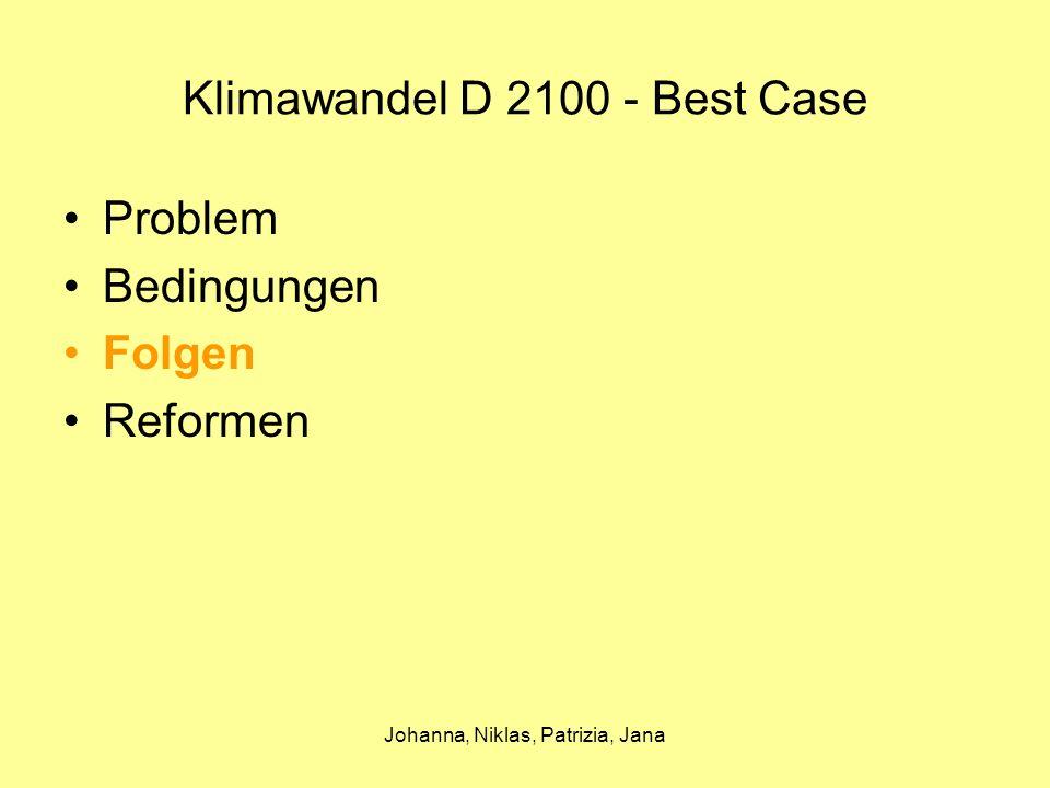 Johanna, Niklas, Patrizia, Jana Klimawandel D 2100 - Best Case Folgen Erwärmung der Erdatmosphäre (1,6 – 6°C) –Abschmelzen der Polkappen –Versiegen des Golfstroms –Flutkatastrophen –Hitzewellen