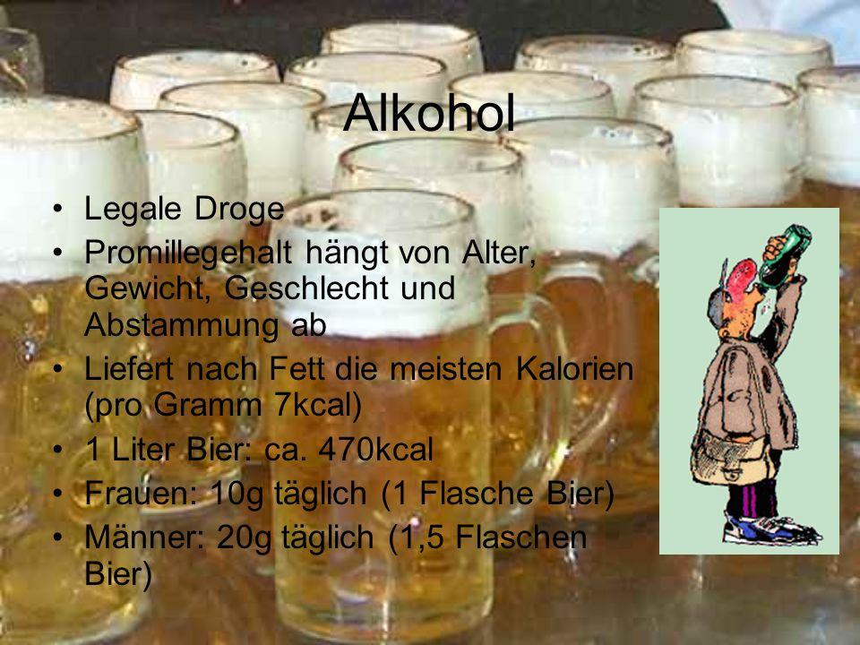 Alkohol Legale Droge Promillegehalt hängt von Alter, Gewicht, Geschlecht und Abstammung ab Liefert nach Fett die meisten Kalorien (pro Gramm 7kcal) 1 Liter Bier: ca.