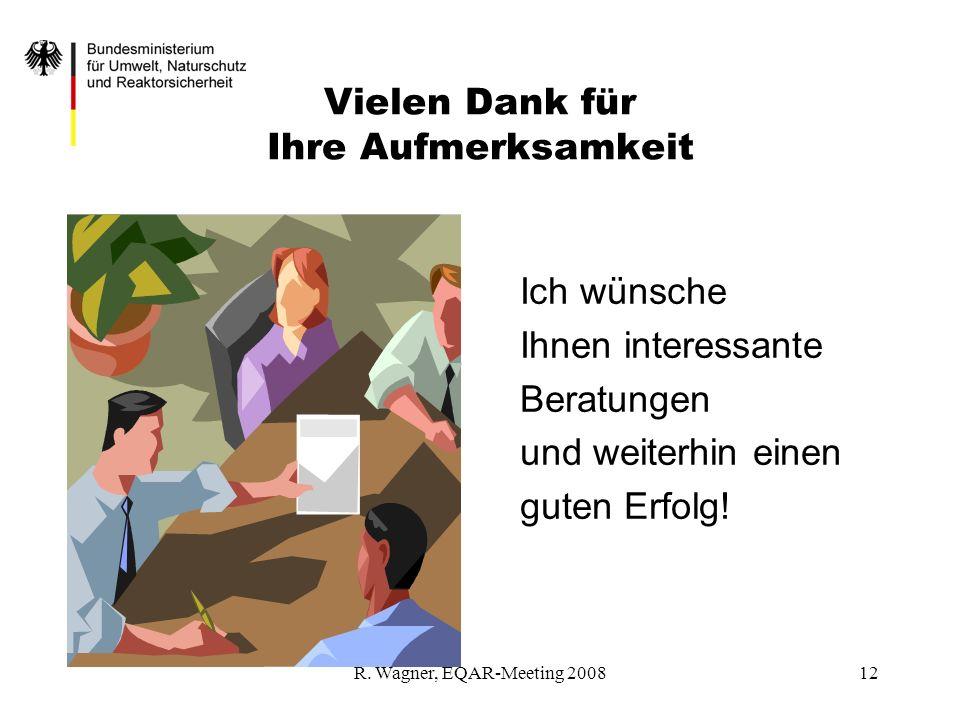 R. Wagner, EQAR-Meeting 200812 Vielen Dank für Ihre Aufmerksamkeit Ich wünsche Ihnen interessante Beratungen und weiterhin einen guten Erfolg!
