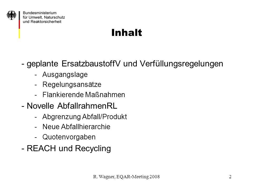 R. Wagner, EQAR-Meeting 20082 - geplante ErsatzbaustoffV und Verfüllungsregelungen -Ausgangslage -Regelungsansätze -Flankierende Maßnahmen - Novelle A