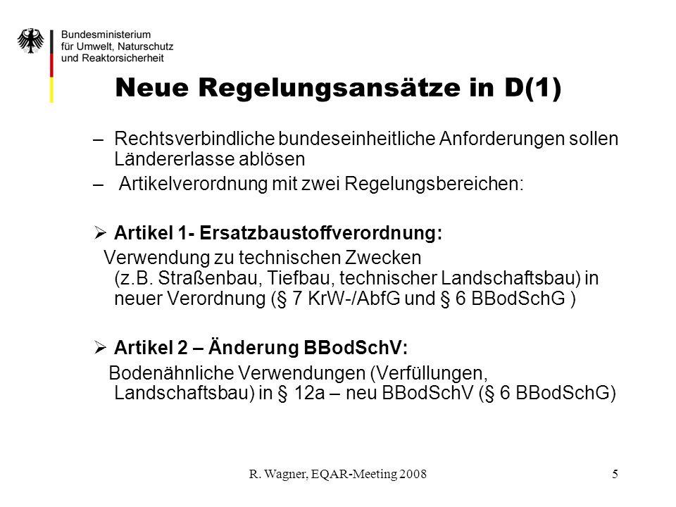 R. Wagner, EQAR-Meeting 20085 Neue Regelungsansätze in D(1) –Rechtsverbindliche bundeseinheitliche Anforderungen sollen Ländererlasse ablösen – Artike