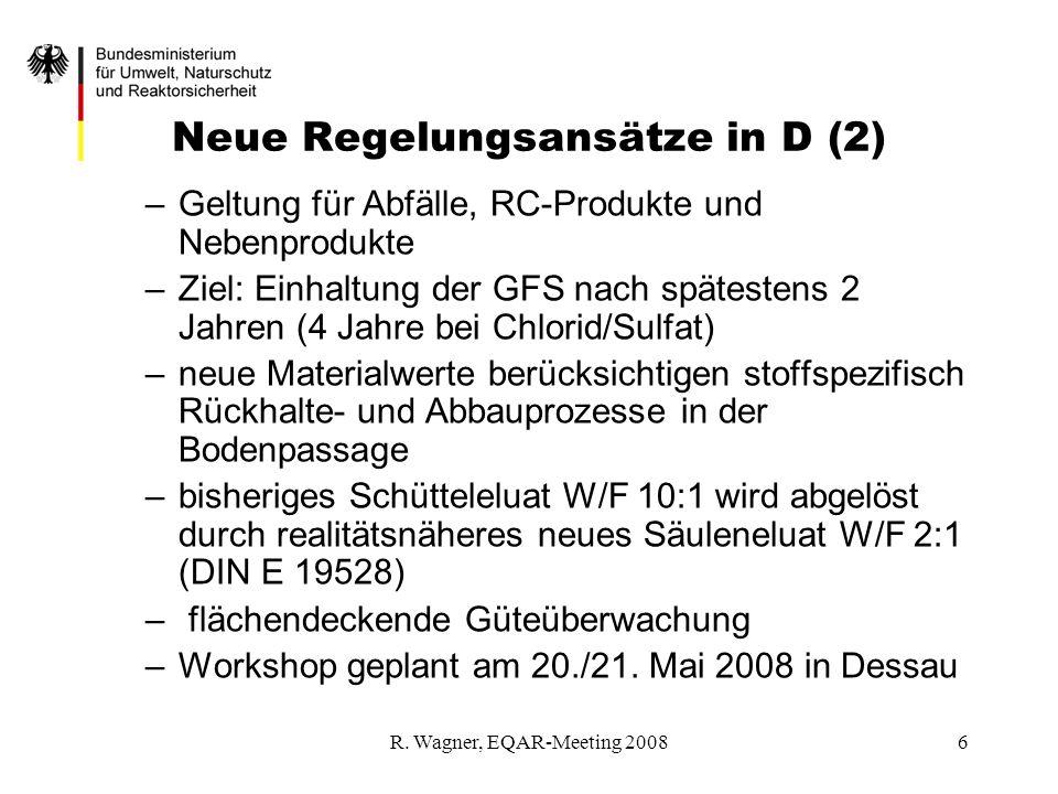 R. Wagner, EQAR-Meeting 20086 Neue Regelungsansätze in D (2) –Geltung für Abfälle, RC-Produkte und Nebenprodukte –Ziel: Einhaltung der GFS nach spätes