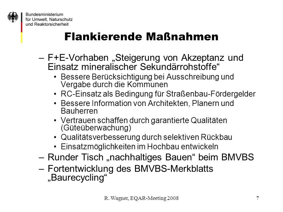 R. Wagner, EQAR-Meeting 20087 Flankierende Maßnahmen –F+E-Vorhaben Steigerung von Akzeptanz und Einsatz mineralischer Sekundärrohstoffe Bessere Berück