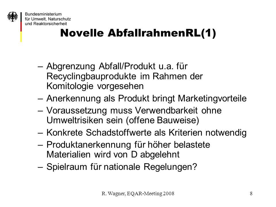 R. Wagner, EQAR-Meeting 20088 Novelle AbfallrahmenRL(1) –Abgrenzung Abfall/Produkt u.a. für Recyclingbauprodukte im Rahmen der Komitologie vorgesehen
