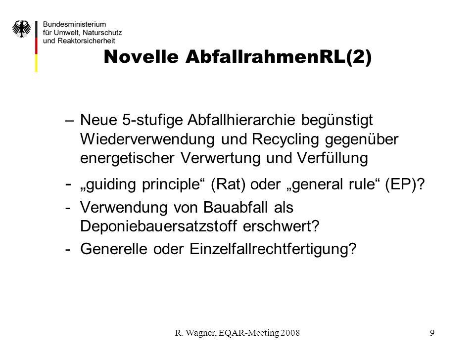 R. Wagner, EQAR-Meeting 20089 Novelle AbfallrahmenRL(2) –Neue 5-stufige Abfallhierarchie begünstigt Wiederverwendung und Recycling gegenüber energetis
