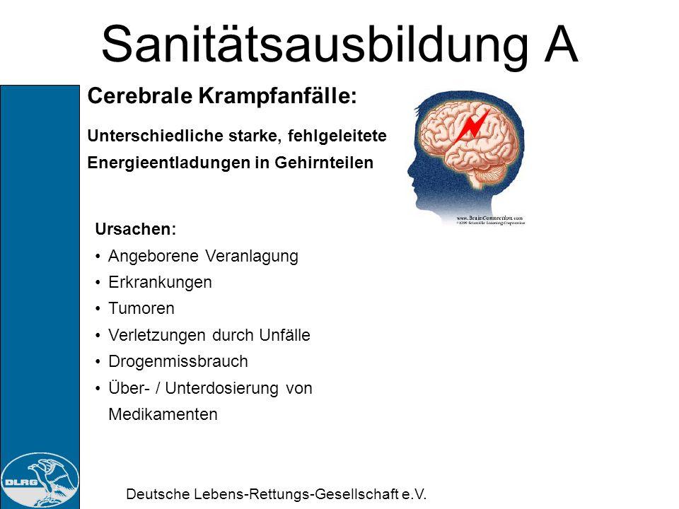 Deutsche Lebens-Rettungs-Gesellschaft e.V. Sanitätsausbildung A Schlaganfall (Apoplex): Gefahren: Bewusstlosigkeit Kreislaufstillstand Stürze Aspirati