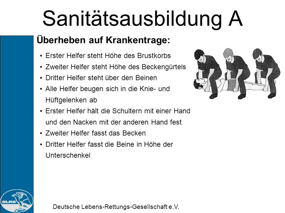 Deutsche Lebens-Rettungs-Gesellschaft e.V. Sanitätsausbildung A Krankentrage: Grundsätzliches Vor Benutzung die Trage prüfen, Kopfende ausfüllen, Gurt