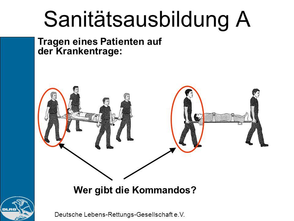 Deutsche Lebens-Rettungs-Gesellschaft e.V. Sanitätsausbildung A Überheben auf Krankentrage: Der am Kopf befindliche Helfer fragt die Anderen: Fertig?
